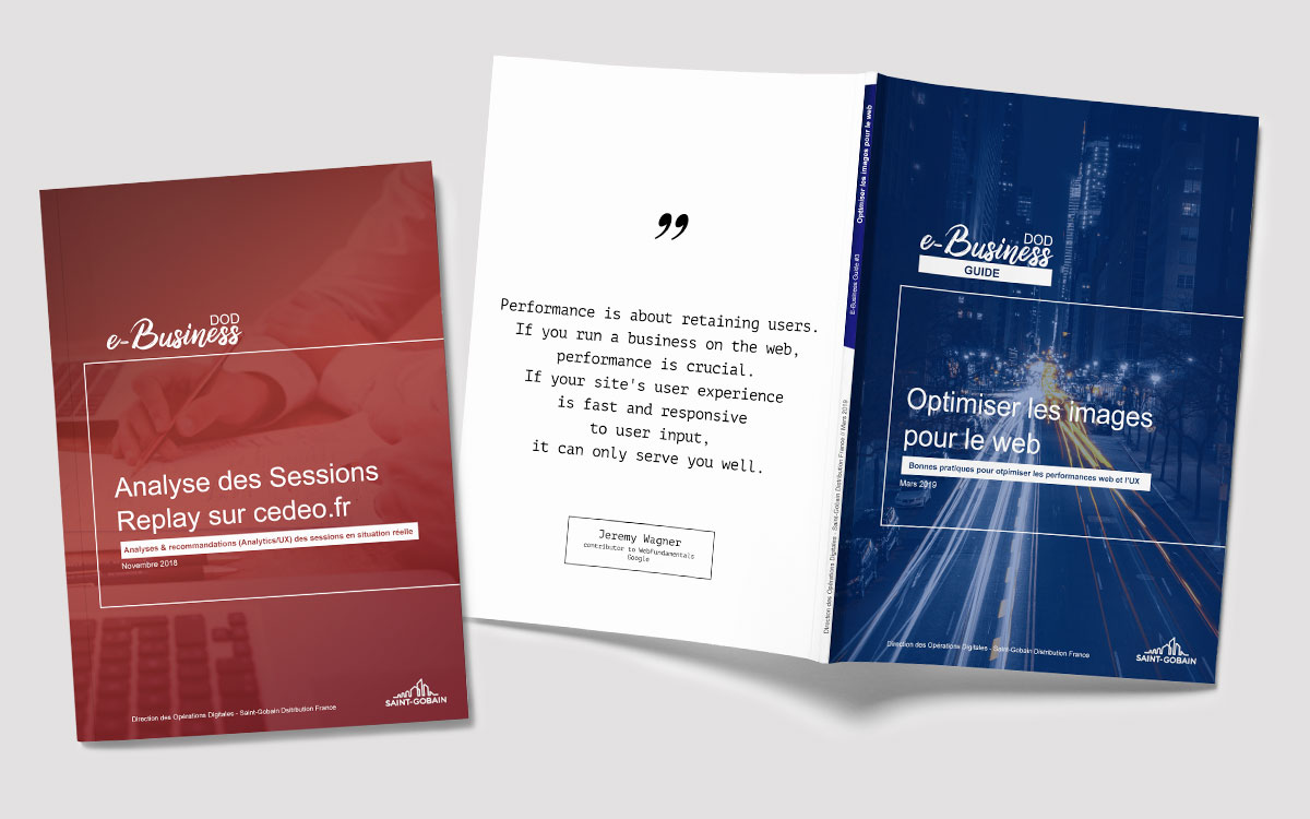 Réalisation de rapports business design (1/3) distribués auprès des collaborateurs clients - Audit de performances UX